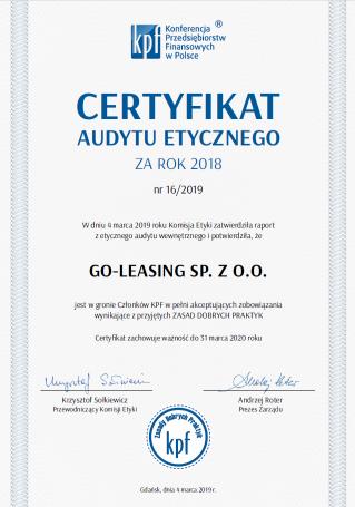 kpf goleasing certyfikat